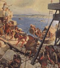 Artistic Depiction of Alexander's Siege on Tyre