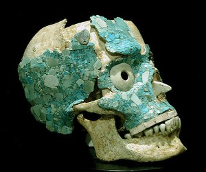Jade Encrusted Skull from Oaxaca Mexico
