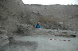 Row of ancient beehives found at Tel Rehov in Israel.
