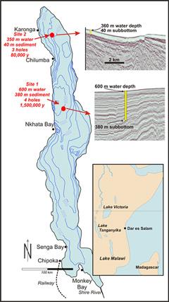 Bathymetric map of Lake Malawi