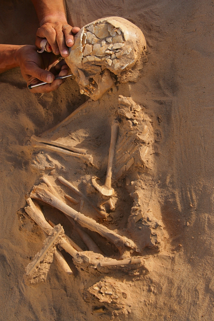 G1B2, an 11 year old girl from 4,835 years ago buried with hippo bone bracelet -- Gobero, Niger