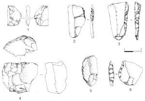 splintered piece (1), backed knives (2, 3, 6), implement with curved back (5), bladelet core (4) (drawings by S. Muratori and G. Almerigogna).