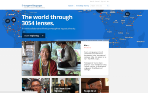 Screenshot of the Endangered Languages Project website