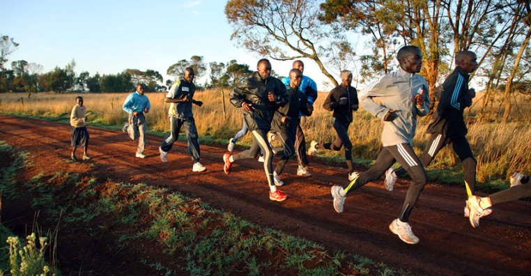 Long-distance runners train in the high-altitude village of Iten, Kenya