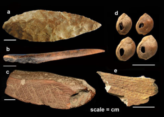 Signs of modern human culture - symbolic artifacts from around 75,000 years ago unearthed from Still Bay at Blombos Cave, South Africa: a) bifacial foliate point, b) bone tool, c) engraved ochre, d) shell beads, e) engraved bone. Credit: Christopher Henshilwood