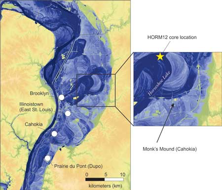 A map shows the central district of Cahokia (inset right) in the context of the water levels reached by the flood of 1844 (blue). (Credit: Sam Munoz)