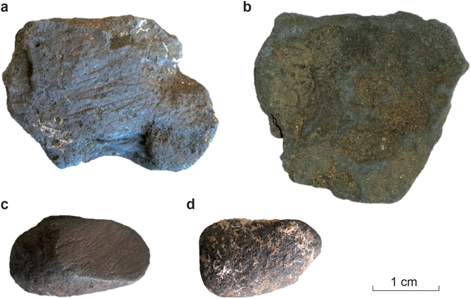 Manganese dioxide blocs from Pech de l'Azé (France), both unmodified (b and d) and abraded (a and c). Read more at: http://phys.org/news/2016-03-neanderthals-deliberately-sourced-manganese-dioxide.html#jCp