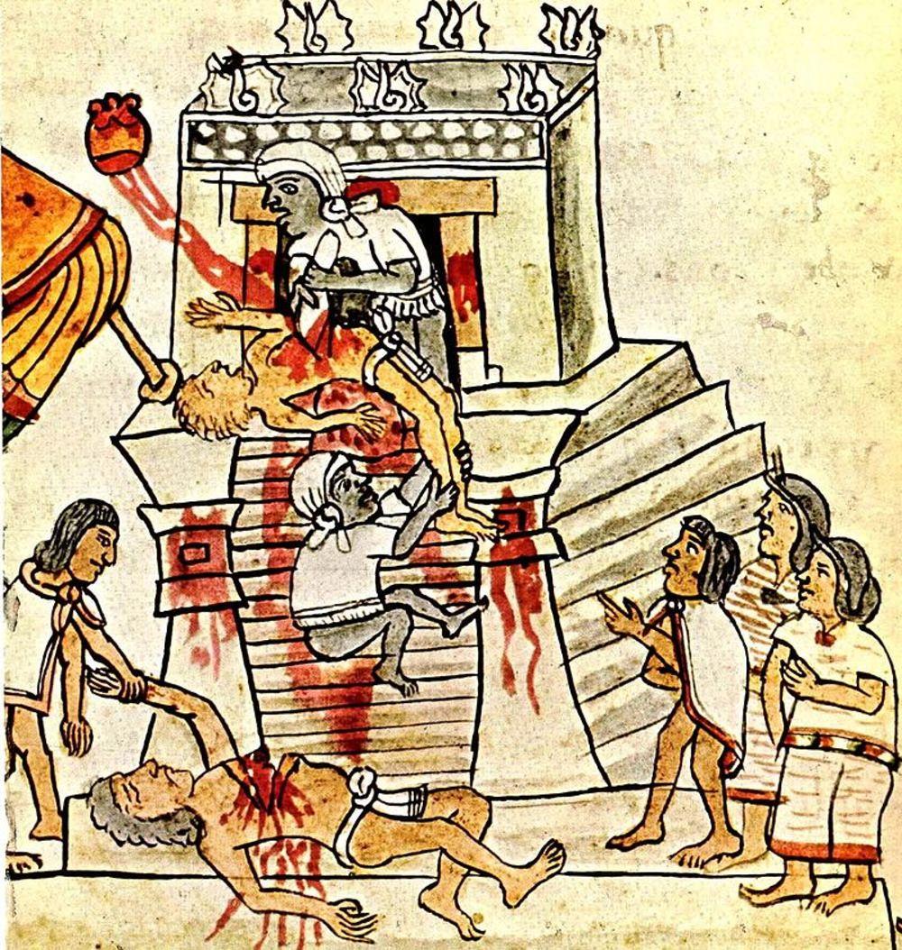 Ritual human sacrifice Public Domain Aztec ritual human sacrifice As portrayed in the Codex Mendoza, a history of the Aztec empire in pictograms.