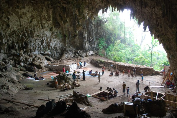 Work continues to excavate the sediments in Liang Bua Cave