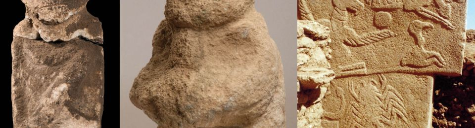 Anthropomorphic depictions from Göbekli Tepe. (A) Intentionally decapitated human statue (height, 60 cm). (B) The gift bearer holds in his hands a human head (height, 26 cm). (C) Pillar 43 (building D) with relief in the lower right corner of a headless individual with an erection and one arm raised (bottom right). Nico Becker, Dieter Johannes and Klaus Schmidt, Göbekli Tepe Archive