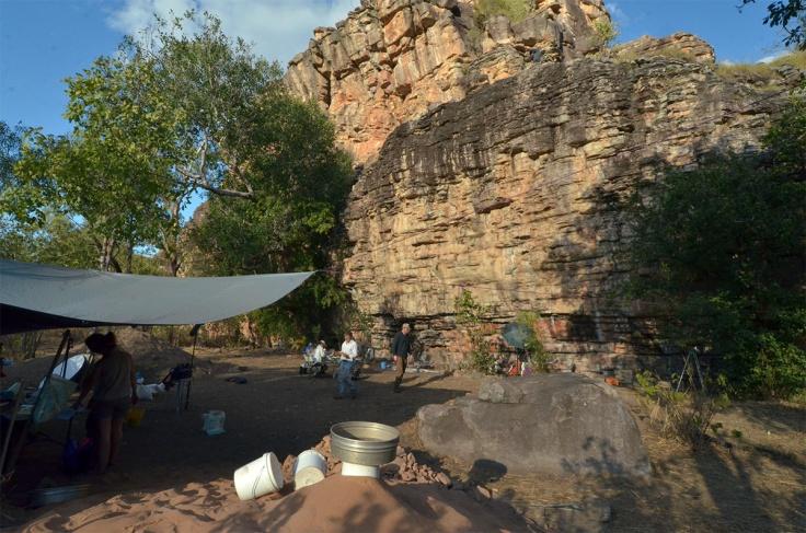 The Madjedbebe site with excavation in progress. DOMINIC O'BRIEN / GUNDJEIHMI ABORIGINAL CORPORATION
