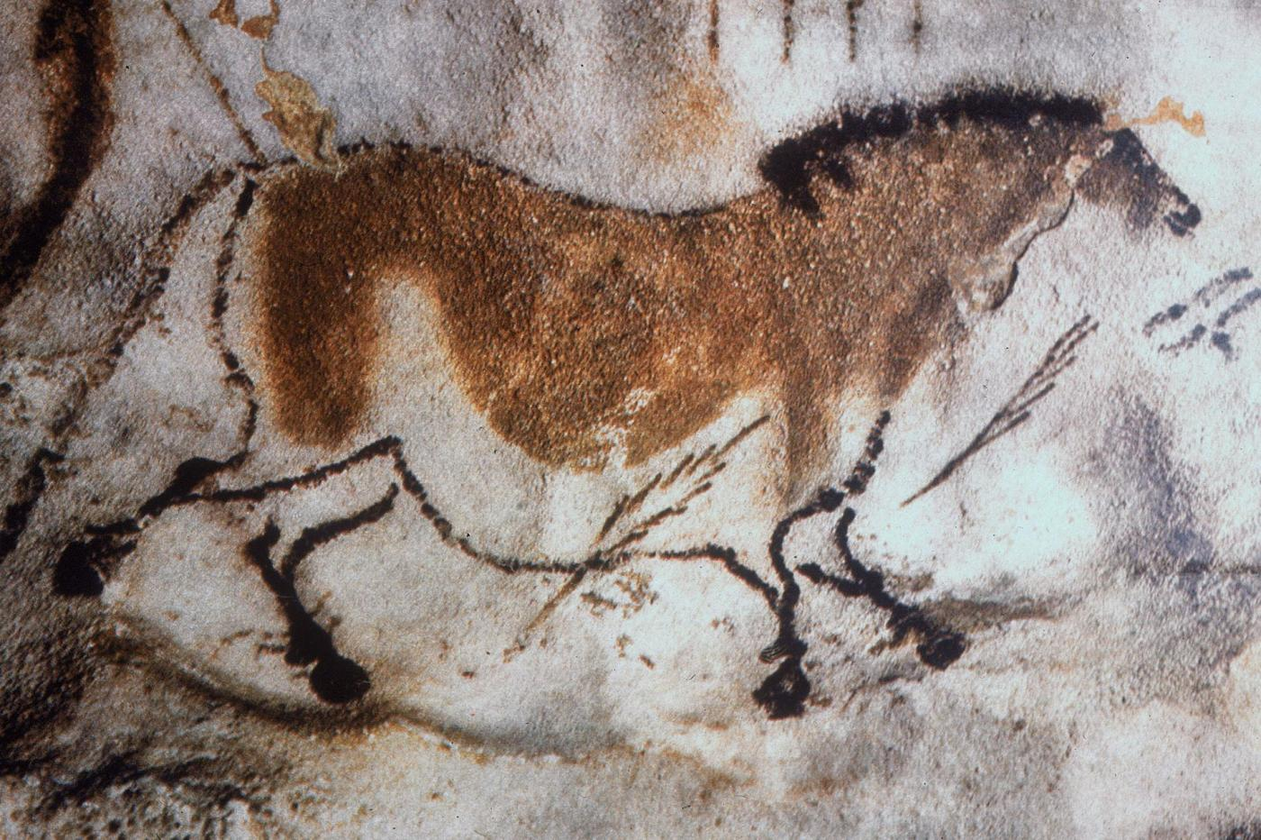 A horse and arrows found painted on the ceiling of Lascaux Cave in Dordogna, France PHOTOGRAPH BY ALINARI ARCHIVES, GETTY