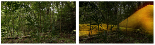 The unaided eye sees only jungle and an overgrown mound, but LiDAR and augmented reality software reveal an ancient Maya pyramid. COURTESY WILD BLUE MEDIA/NATIONAL GEOGRAPHIC