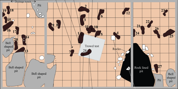 Diagram of the footprints on Calvert Island.
